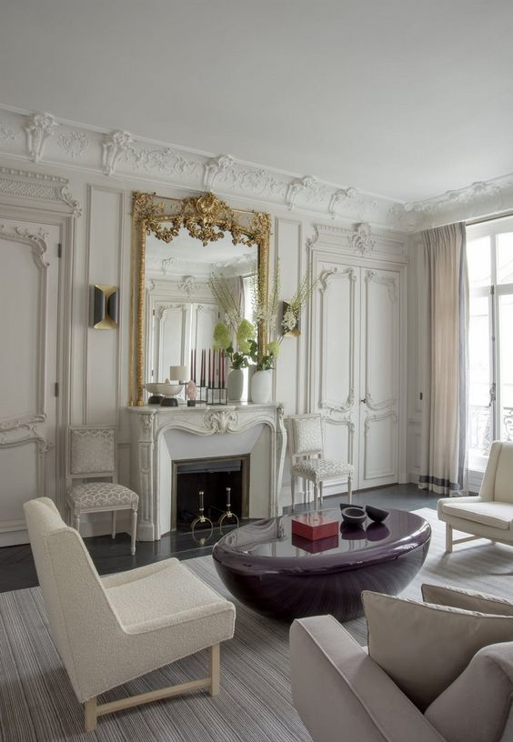 molding on the walls, doors, ceiling trim and even to highlight the fireplace is a very elegant option
