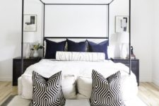 16 place pillows not only on the bed but also on the bench if there's one, make your bench very inviting, too