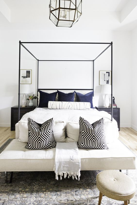 place pillows not only on the bed but also on the bench if there's one, make your bench very inviting, too