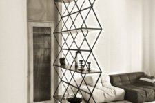 17 a contemporary room divider of metal and wood is a stylish idea with a touch of pattern