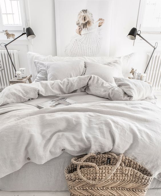add instant coziness to your bedroom with pure linen bedding in light gray, it's perfect for most of bedroom styles