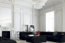 18 a gorgeous statement chandelier with crystal drops takes over the whole room making it striking
