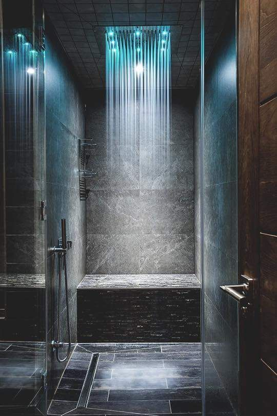 soothing shades of LEDs will make your shower feel very comforting and very inviting