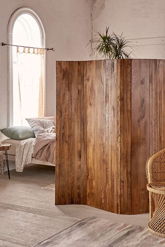 a stained wooden screen will be a beautiful rustic accent for your small home