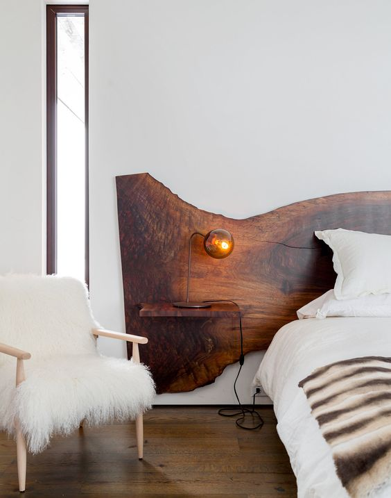 if your bed doesn't have a headboard, you can make a separate one with a live edge
