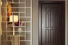 23 a beautiful gilded geometric screen will unobtrusively divide the spaces and is sheer enough for a small home