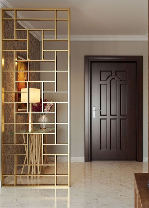 a beautiful gilded geometric screen will unobtrusively divide the spaces and is sheer enough for a small home