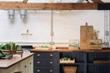 kitchen with a cozy wooden countertop
