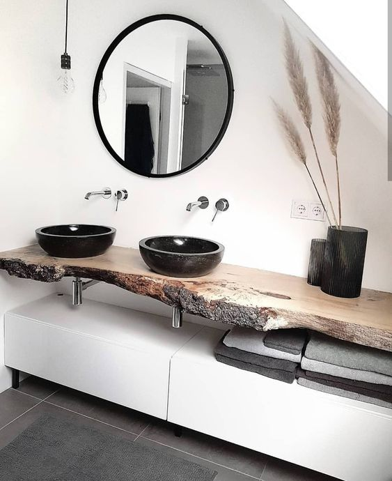 enliven your minimalist bathroom with a live edge vanity, and if you need a closed storage unit, make a sleek cabinet underneath