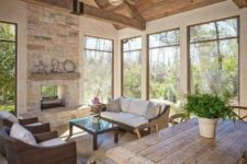 25 a cozy barndominium space done in neutral colors and all-natural materials, stylish wood and wicker furniture