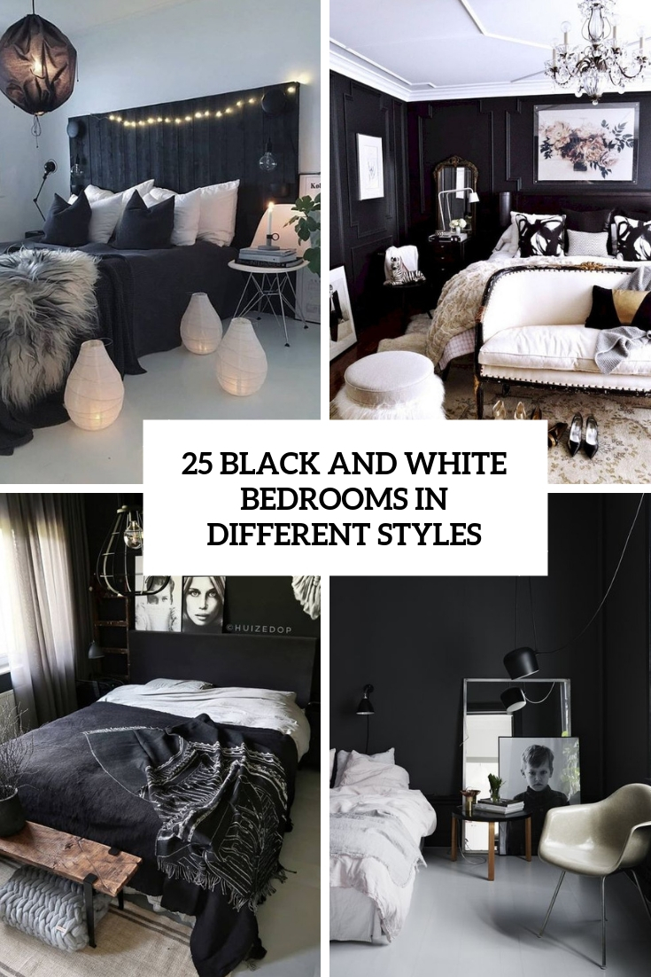 black and white bedrooms in different styles cover