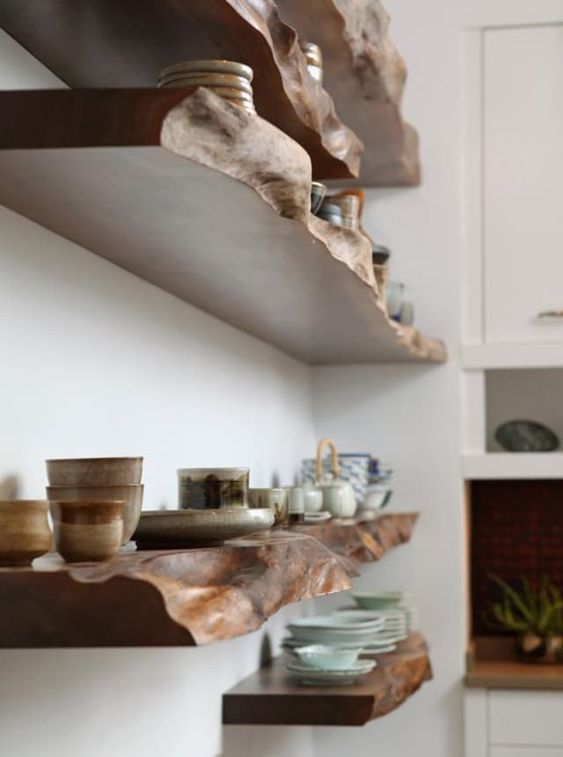 fantastic dark stained live edge open shelves will help you display your items at their best