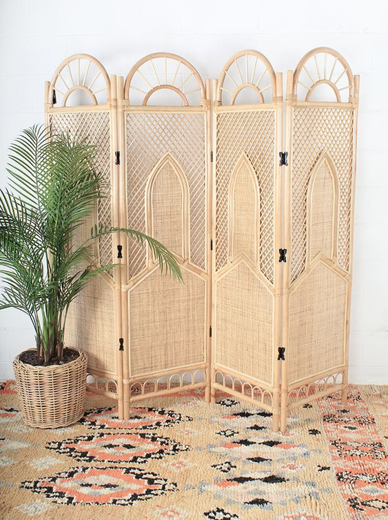 a beautiful cane and rattan wooden screen will perfectly fit a boho space