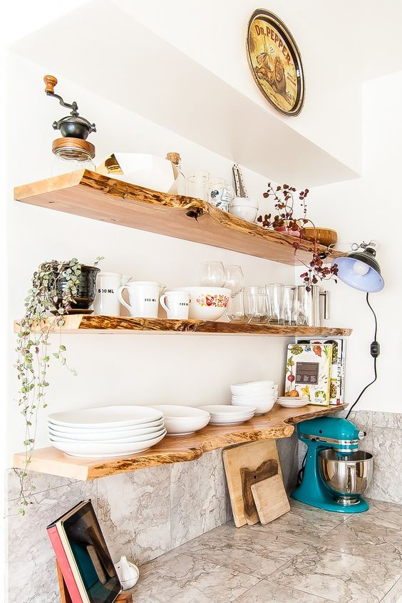 live edge floating shelves look very chic and will perfectly refresh and enliven your kitchen