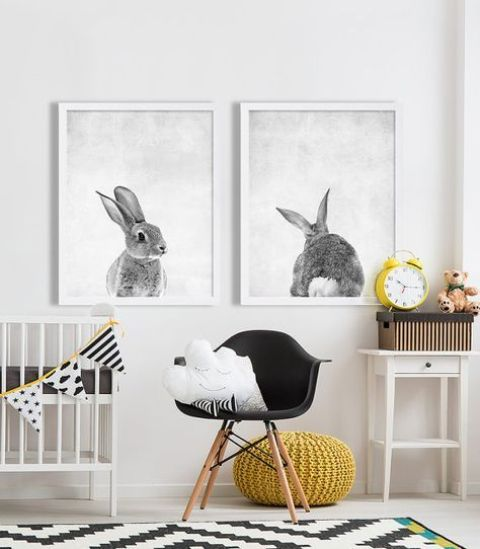 stylish rabbit portraits is a fun idea that will fit any nursery   for a boy or a girl