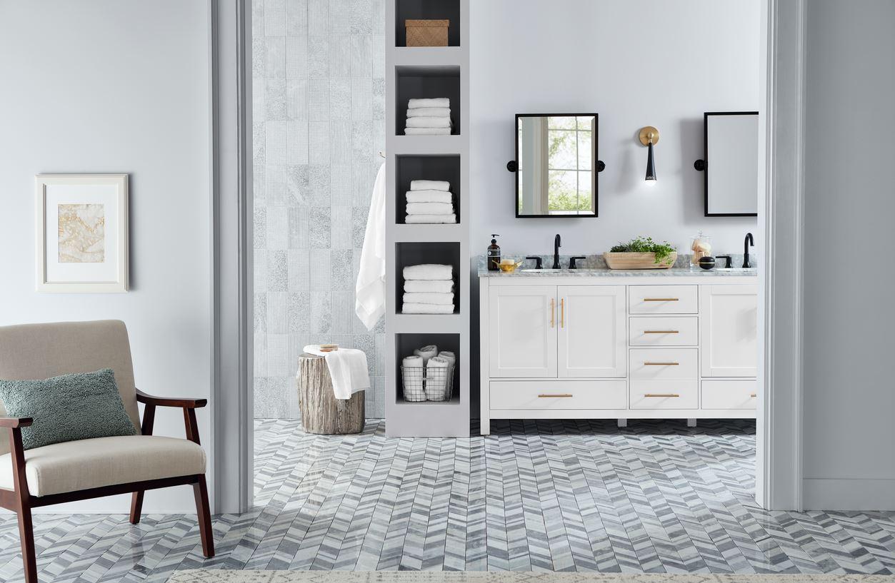 a chic marble bathroom design