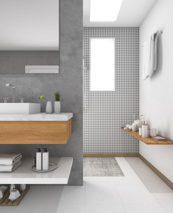 a neutral transitional bathroom done in off-whites and greys and light-colored wooden touches that add warmth to the space