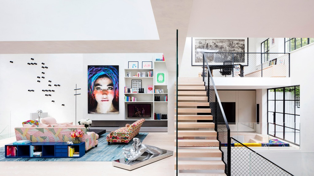 This bold eclectic home was created out of two former art studios that might be occupied by Turner in the 19th century