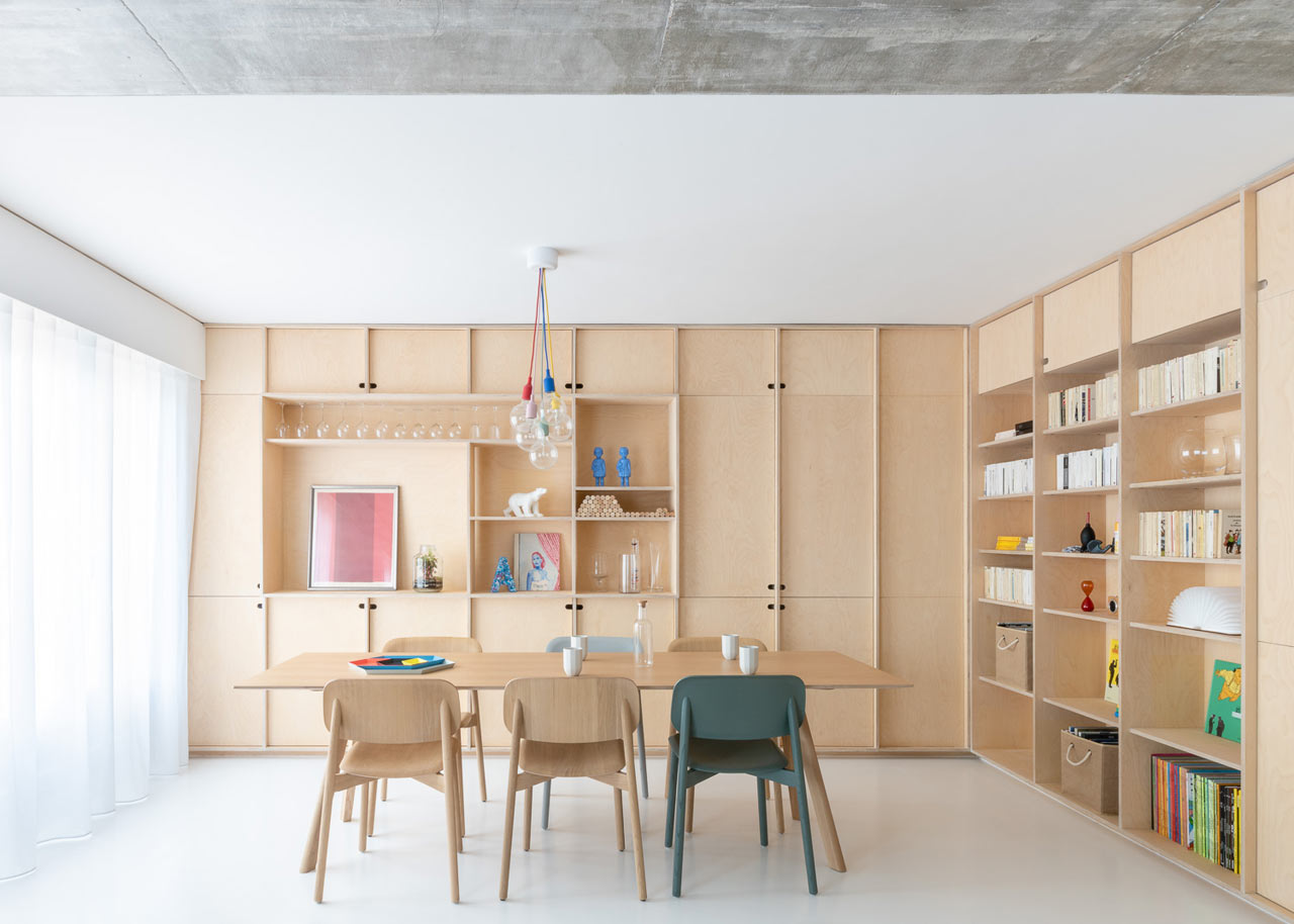 This stylish and laconic contemporary flat was designed for a young family with a child and a cat