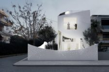 minimalist white house with a small garden