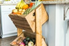 02 a comfy shelving unit with crates is dieal for kitchens – store your veggies and fruits here, at hand