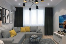 02 a stylish contemporary living room done with ceiling lights and a statement black chandelier wiht a mid-century modern feel