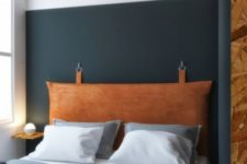 02 leather in such a rich color is a very edgy option, it will add color and texture to the bedroom at once