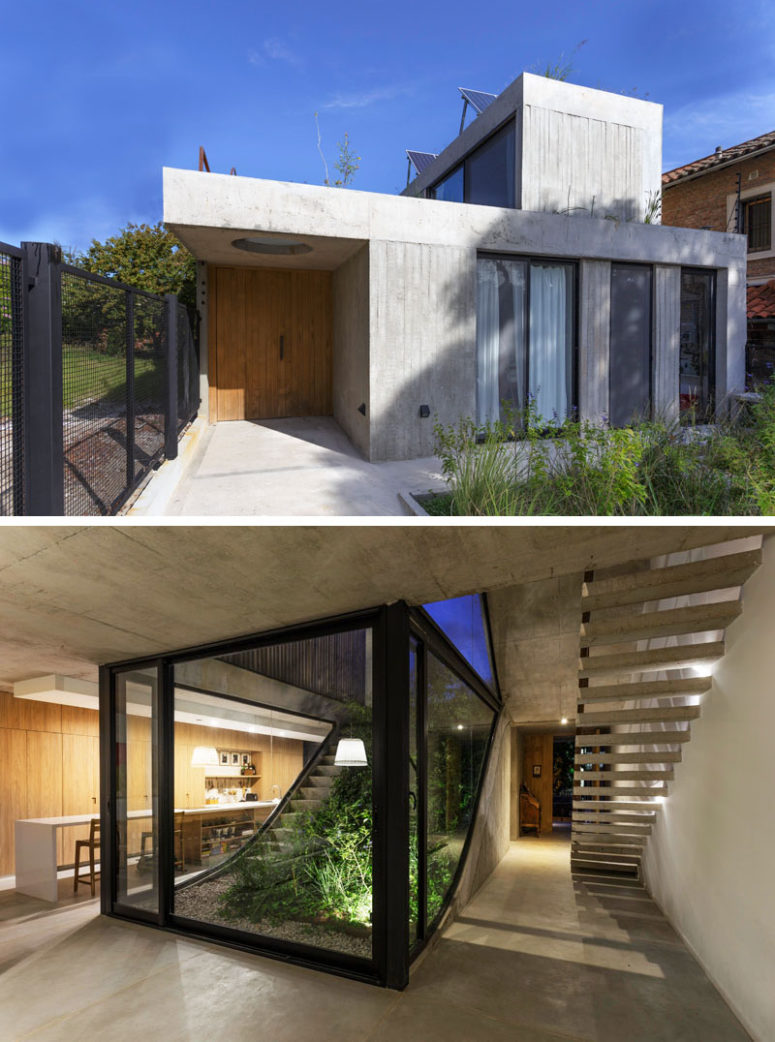 The house includes three levels, they are all connected throught the stairs and are lit up
