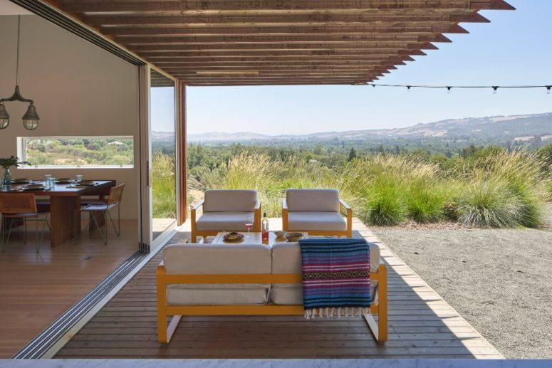 The indoor spaces are extended outdoors to enjoy the views and fresh air