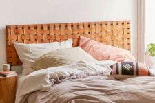 03 a woven leather headboard in a pretty bold amber shade is ideal for a boho or woodland bedroom