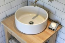 03 an Ikea Bekvam kitchen cart and Tornviken countertop sink turned into a chic rustic vanity with a bowl sink