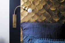 03 an elegant headboard with a black frame and gold scallops will bring much color and texture to the space