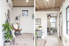 04 The decor is mid-century modern, with boho touches and lots of potted greenery to make the home cozier