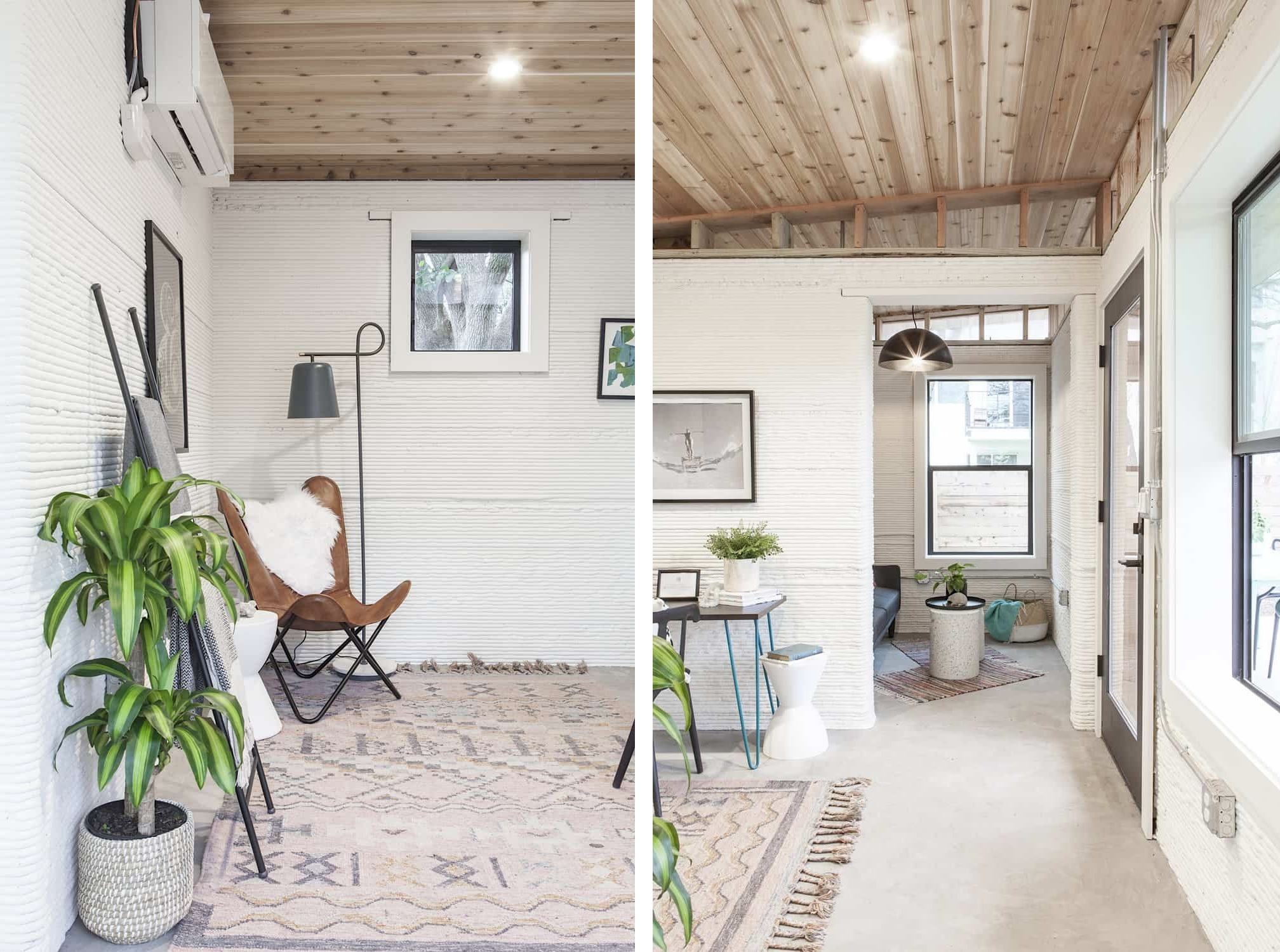 The decor is mid century modern, with boho touches and lots of potted greenery to make the home cozier