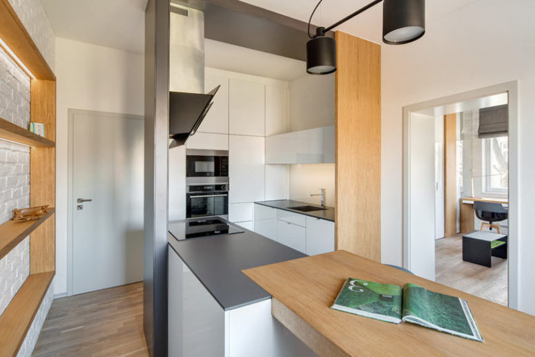 The light fixtures are minimalist and basic not to distract attention from the design of the apartment