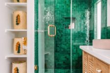 04 a boho attic bathroom with an emerald tile shower space that really stands out
