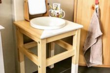 04 a kids' color block basin made of an IKEA Oddvar stool is a chic and bold modern idea