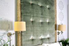 04 a statement green tufted headboard with gold framing is a stylish idea with a refined feel