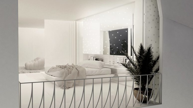 The bedroom is very dreamy and I like how lights are placed here, there's a minimalist platform bed and a potted plant