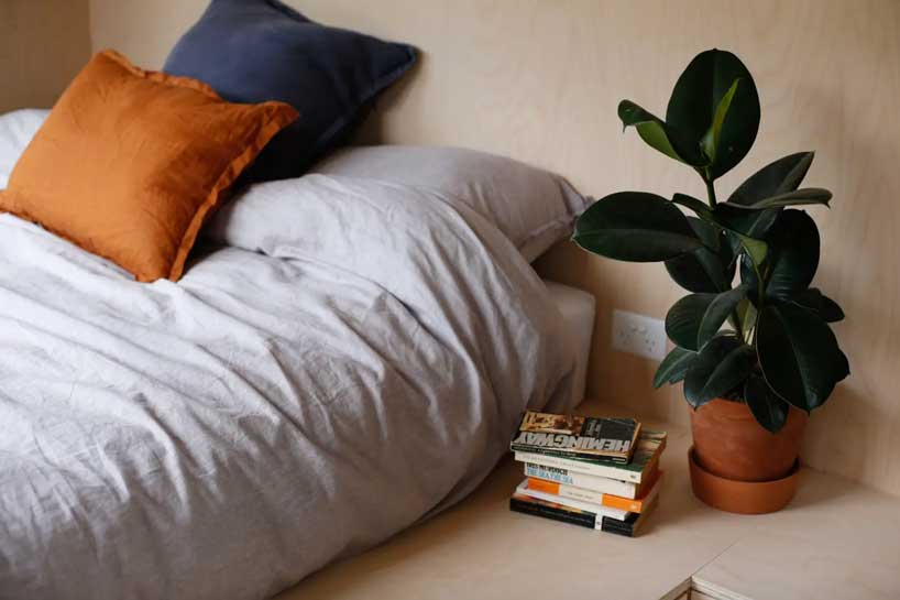 There's a sleeping space with a mattress on the floor and some potted plants to cozy up the space