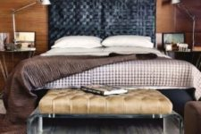 05 a black woven leather headboard is ideal for a masculine space and will bring much texture as a statement