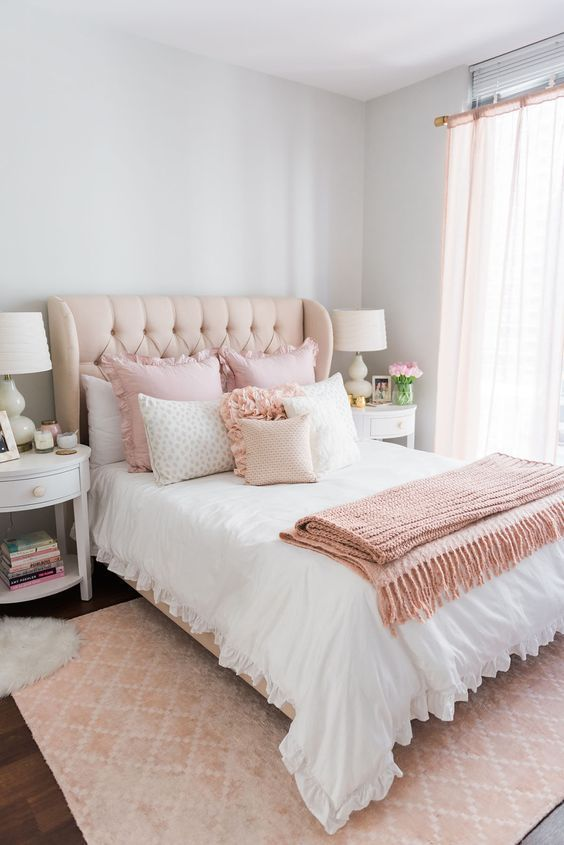 a blush wingback headboard makes the bedroom look cuter and more girlish, blush accents highlight it