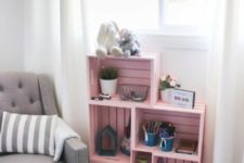 05 a pink crate shelving unit is an easy idea to add storage space and a soft touch of color