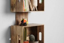 06 a stylish crate shelving unit of a wooden plank and crates will work for a rustic or mid-century modern space