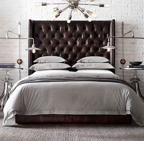 a timeless chocolate brown leather wingback headboard is a bold statement for a bedroom