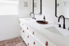 07 Ikea Hemnes sink cabinets spruced up with leather pulls are a gorgeous idea for a bathroom