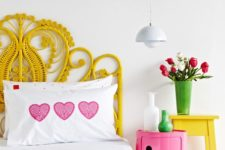 07 a creative woven yellow headboard matches the bright color scheme of the bedroom