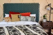 07 a woven teal leather headboard is a chic idea for a boho bedroom and it brings much color to it