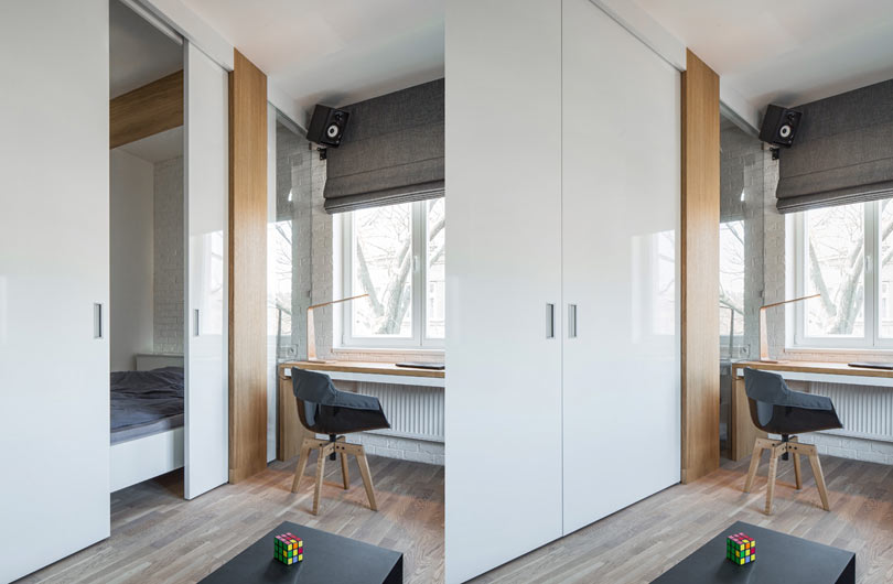 The flat design shows that even a small living space can be made super functional without sacrificing the style