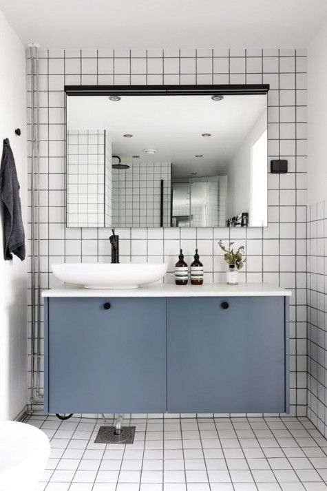 IKEA Metod cabinets painted slate grey and used as a floating bathroom vanity